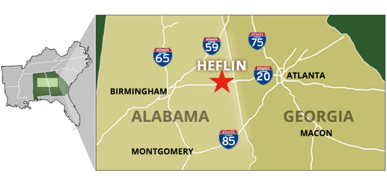 Map displaying location of Heflin